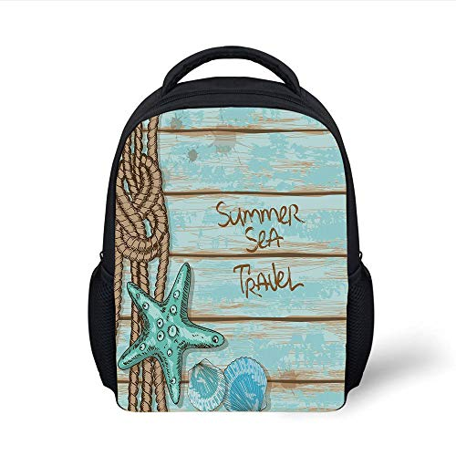 Kids School Backpack Starfish Decor,Summer Sea Travel Retro Boards Ship Deck Rope Scallops Decorative,Brown Mint Green Turquoise Plain Bookbag Travel Daypack Brown Scallop