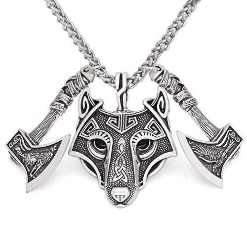 QZY Acero Inoxidable Enlace Kings Chain con Colgante De Acero Inoxidable Fenrir,B*Silver