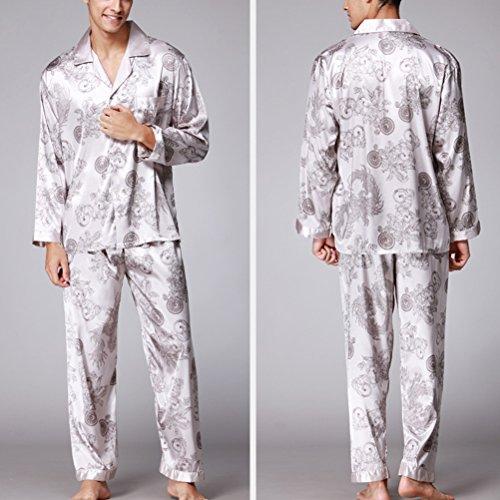 Zhhlinyuan Men's High Quality Satin Pyjama Sets Nightdress YT16QTZ070 gray