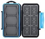Flashwoife Turtle-CF3SD6MSD12 spritzwasserdichte Speicherkarten Schutzbox für 3X CF, 6X SDHC und 12x MicroSD patentierte Aufnahme, Cards Case in schwarz/blau