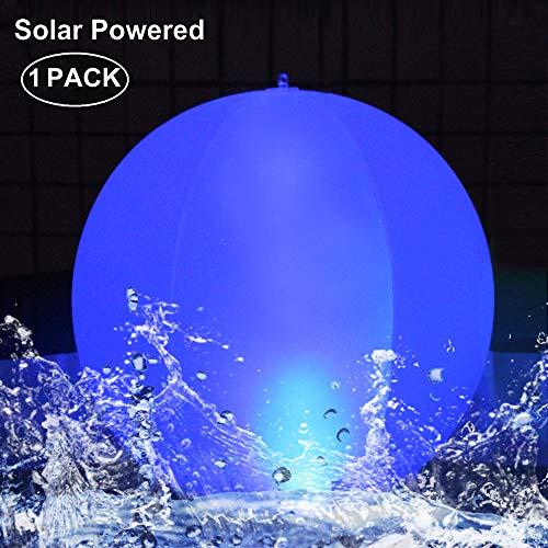 """LED Solarlichter,LED Solar Kugelleuchte 14\"""" LED Solar Ball Licht Schwimmende Pool Lichter Wasserdichte,Farbwechsel LED Nachtlicht Party Decor für Garten,Schwimmbad,Hochzeit,Strand,Hof,Rasen(1Pack)"""