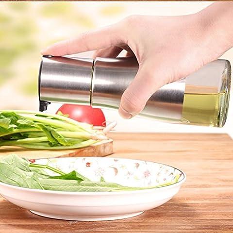 ZNYSTAR Oil & Vinegar Dispenser 11OZ in Acciaio inox e Vetro Bottiglia Dispenser (Acciaio inossidabile Dispenser bottiglia)