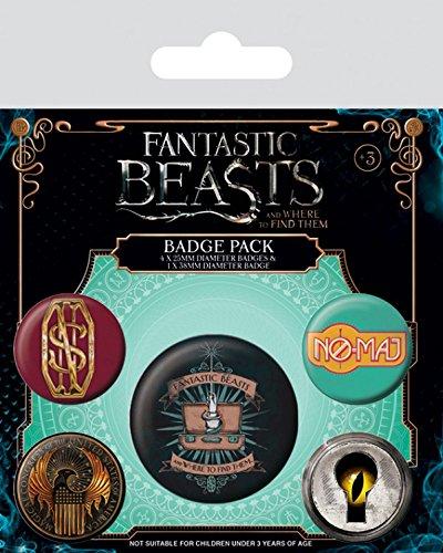 Animali Fantastici E Dove Trovarli - No-maj, 1 X 38mm & 4 X 25mm Badge Set Di Badge (15 x 10cm)
