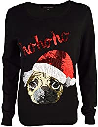 Womens Novelty Sequin Santa's Pug Christmas Jumpers Ladies Knitted Sweater Top