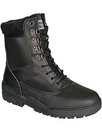 Botas de cuero negro con cremallera lateral Patrulla de combate del ejército Policía de seguridad militar del cadete táctico