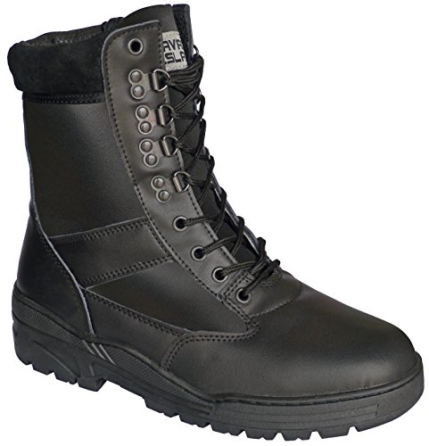Black-Full-Leather-Army-Combat-Patrol-Boots-Tactical-Cadet-Military-Security-Police