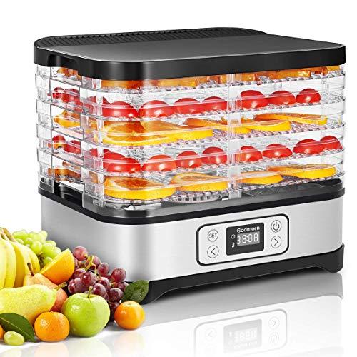 Godmorn Dörrautomat 5 Dörrgitter mit Gesamtdörrfläche für Lebensmittel, Obst- Fleisch- Früchte-Trockner Silber+Schwarz