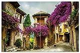 Wallario Herdabdeckplatte/Spritzschutz aus Glas, 2-teilig, 80x52cm, für Ceran- und Induktionsherde, Motiv Malerische Stadt in der Provence mit bunten Blumen
