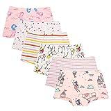 Cassiecy 6 Pack Kinder Mädchen Baumwolle Boxershorts Hipster Boxer Unterhose Panty Unterwäsche 2-13 Jahre (4-5Jahre, Stil 2)