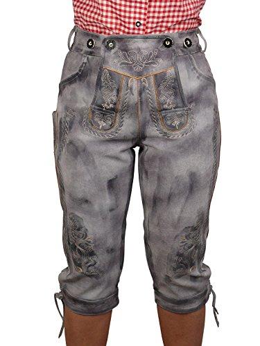 Harrys-Collection Damen Trachten Lederhose urig speckig Vintage mit Hosenträger, Größe:42, Farben:Antik Grau