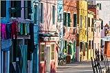 Leinwandbild 120 x 80 cm: Bunte Fassaden auf Burano von Matteo Colombo - fertiges Wandbild, Bild auf Keilrahmen, Fertigbild auf echter Leinwand, Leinwanddruck