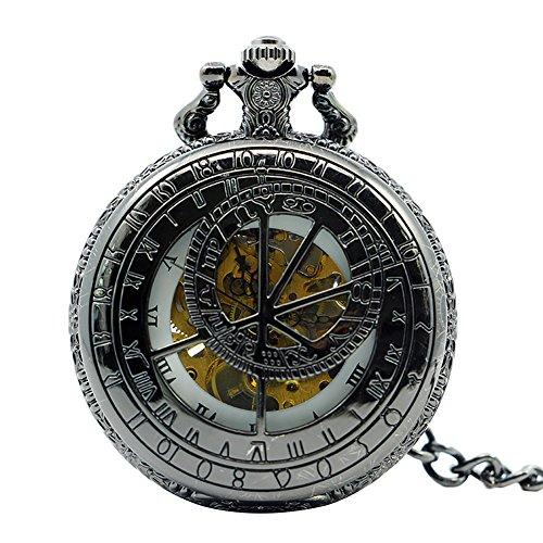 Icegrey Retro Taschenuhr Mit Gravur Mechanisch Taschenuhr Anhänger mit Halskette Kette Pocket Watch