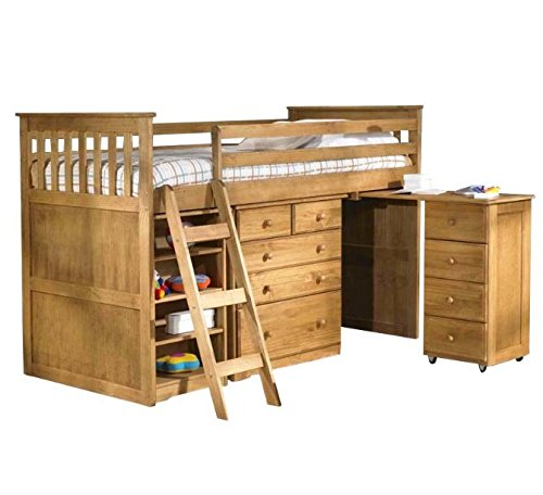 Wooden Single Bunk Bed - with Storage - Features Ample Storage Space to Organise Clothes and Toys (Waxed Pine)