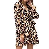 Damen Leopard Kleid drucken Flare Long Ärmel hoch Taille V-Ausschnitt Schnürung schlank sexy Minikleid URIBAKY