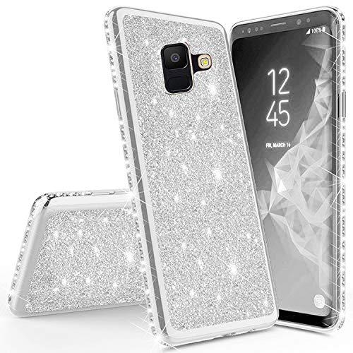 Sycode Coque Brillante Bling Diamant Strass Glitter Coque pour {Samsung Galaxy A8 2018} Luxe Silicone Couverture Souple Mince Sparkle Cristal Étui pour Fille Femme-Argent
