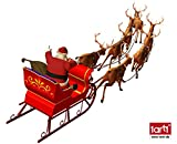 1art1 59085 Weihnachten - Der Weihnachtsmann Mit Seinem Rentier-Schlitten Aufkleber Poster-Sticker Für Fenster 120 x 60 cm