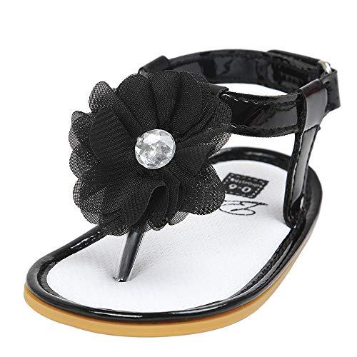 feiXIANG Sandalen Mädchen Sommer Kleinkind Schuhe T-Strap Outdoor Atmungsaktiv Blume Baby Flach Flip Flops (Schwarz,0-6 Monat=11) (Dress 11 Schuhe Formal Damen Größe)