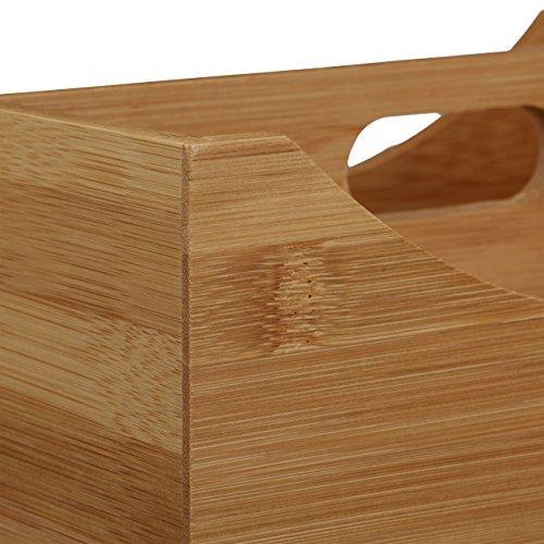 Relaxdays Schreibtischorganizer Bambus, Stifteköcher, 4 Fächer, Griff, natürliche Maserung, HxBxT: ca. 12 x 25 x 18 cm, natur - 5