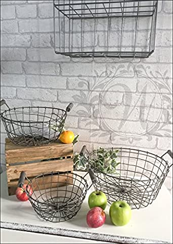 Three Fruit Bowl Round Basket Industrial Style Metal Wire