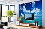 Kuamai Natural Scenery Blue Sky and Sea 3D Wall Photo Mural Wallpaper for Tv Background Living Room 3D Wall Murals Wall Paper Fresco-400X280cm