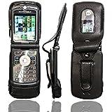 caseroxx Handy-Tasche für Motorola Razr V3 aus , Handy-Hülle mit Sichtfenster aus schmutzabweisender Klarsichtfolie und Clip