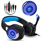 Gaming Headset f�r PS4, 3.5mm Surround Sound Kabelgebundenes Headset mit Mikrofon, Buntes LED-Licht, Gaming Kopfh�rer Spiel Headset mit Mikrofon f�r PC Xbox One,Laptop, Mac, Tablet, PC, Smartphone (Blau) Bild