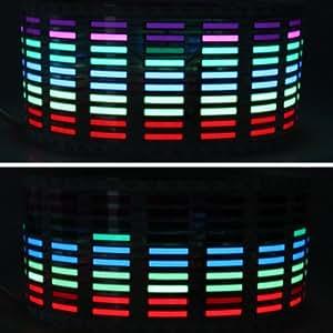 AGPtek® Car Sound Music Activated Sensor Stickers Equalizer Glow Blue LED Light 5 Color(Red + yellow + blue + green + pink)