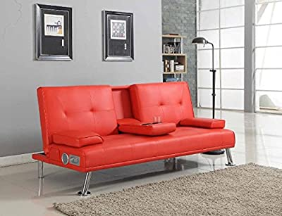 Bluetooth Cinema Sofa Bed with Drink Cup Holder Table Red Faux Leather