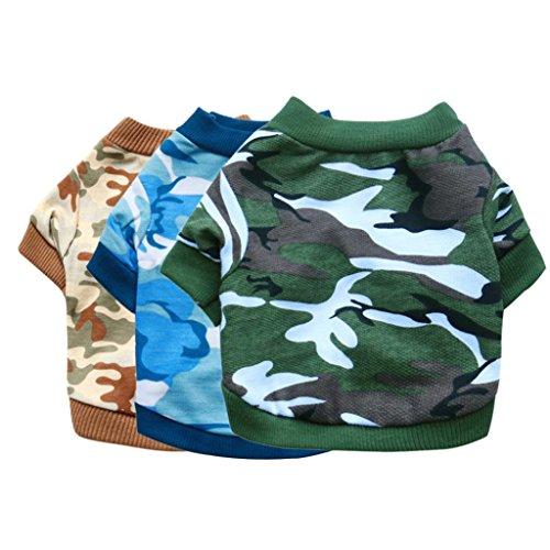 quanjucheer Hund Welpen Camouflage-T-Shirt für Haustiere, kleine Hunde Kleidung -