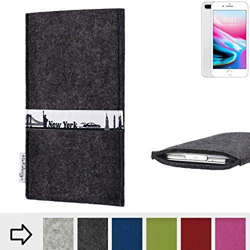flat.design Filztasche SKYLINE mit Webband New York für Apple iPhone 8 Plus - handgefertigte Hülle aus 100% WollFilz (anthrazit) - Case im Slim fit Design für Apple iPhone 8 Plus anthrazit