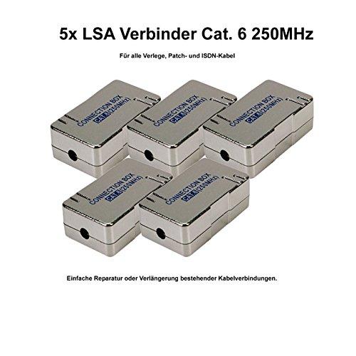 5x Faconet® LSA Verbinder Cat.6 zum Verbinden/Reparieren von Netzwerk, Internet oder ISDN Kabel geschirmtes Gehäuse -