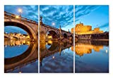 JH Lacrocon Impresiones Lienzo Paisaje Urbano Poster 40X80cm 3 Piezas Foto Cuadro Decoracion Tiber Castel Sant Angelo Imagen Pared 120X80 cm