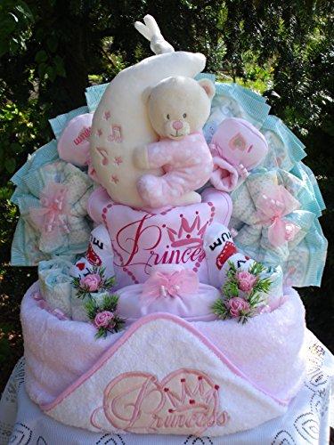 """Windeltorte""""Little Princess Kaputzenbadetuch,Bärenspieluhr und Babyset""""Geburt,Taufe,Hochzeit"""