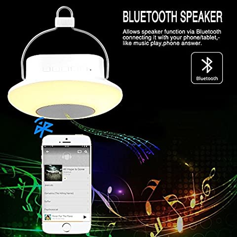 ELINKUME Wireless Bluetooth speaker lamp, multifunctional indoor swimming pool outdoor lighting (Camping lamp + Radio + music player + small Night light), colorful dimming, 3 brightness adjustable