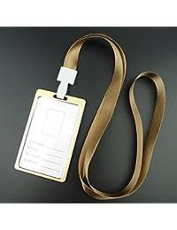 Outstanding Aleación de aluminio tarjeta de visita titular de la insignia con correa de cuello correa de identificación vertical tarjeta de nombre de la caja