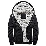 Minetom Homme Hiver Chaud Polaires Doublé Sweats à Capuche Cotton Manteaux Doux Blousons Sweat-shirts Outwear Tops Noir FR 44