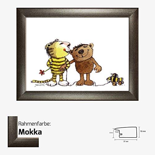 Kunstdruck Janosch - Tiger Bär 30 x 40 cm mit MDF-Bilderrahmen Pisa & Acrylglas reflexfrei, viele Farben zur Auswahl, hier Mokka (Mokka-tiger Print)