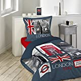 Douceur d'Intérieur CITY LONDON – Funda nórdica con funda de almohada (algodón, 140 x 200 cm), multicolor