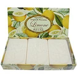 Jabón de limón, pack regalo 3 pastillas de 125 g, Jabón italiano hecho a mano de Fiorentino, con relieve decorativo