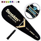 Senston N80 Graphite unique de haute qualité raquette de badminton, en fibre de carbone raquette de badminton, y compris Badminton Sac,Angent