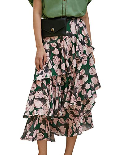 Elf sack Damen Midirock mit Blumenmuster Stufenrock Volant Chiffon Rüschen Röcke Floral Tiered Maxi Skirt Kirschblüte L -