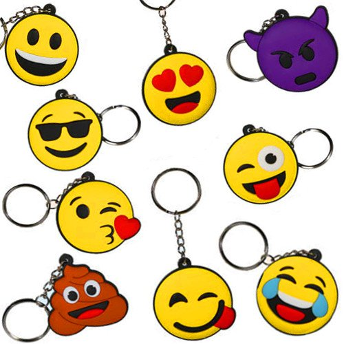 Preisvergleich Produktbild German Trendseller® - 6 x Emoji Charm Mix NEU Anhänger  Twitter  Icons  Mitgebsel  Kindergeburtstag  6 Stück