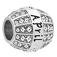 April Birthstone Spacer Crystal Month Charm Bead for European Snake Bracelets Necklace