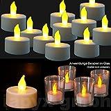 32x LED Teelichter flackernd inkl. 32 Batterien CR2032, flammenlose LED Kerzen mit Flackereffekt, iapyx®