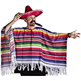 MEXICAN PONCHO SOMBRERO TASH & CIGAR DELUXE WESTERN FANCY DRESS COSTUME MENS LADIES ONE SIZE S-XXXL