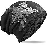 NavyBlu® warmes unisex Beanie Mütze mit Fleece Innenfutter und vintage Stern schwarz M27