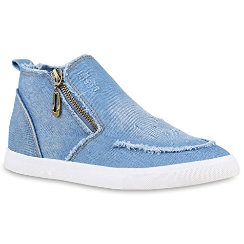 Damen Sneakers High Denim Turnschuhe Zipper Jeans Optik Hellblau