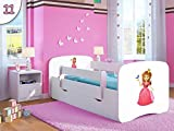 Kocot Kids Kinderbett Jugendbett 70x140 80x160 80x180 Weiß mit Rausfallschutz Matratze Schublade und Lattenrost Kinderbetten für Mädchen und Junge - Prinzessin 140 cm