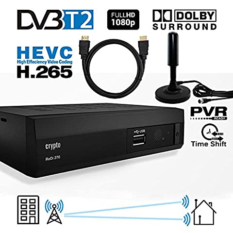 Crypto Redi 270PHA 1080P Full HD 1080P DVB-T2 HEVC H.265 décodeur tnt hd avec Dolby Full Multimédia Lecteur H.265 / MPEG-2/4 et câble HDMI 1M