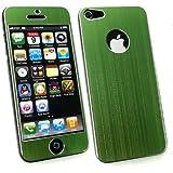 Emartbuy® Apple Iphone 5 5s Lcd Displayschutzfolie Und Gebürstet Alumimium Effect Front-Und Back Sticker / Case / Cover Grün